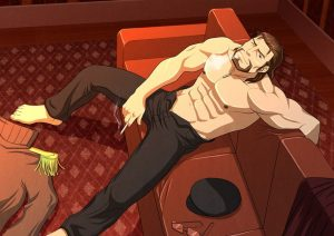 Bara guy relaxes smoking on the couch Yaoi