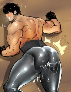 Bara Uke wearing leather pants has his butt covered in sticky cum