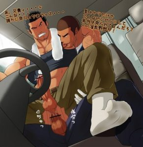 In the car in public a Bara Seme is shoving his hard dick in his Uke ass