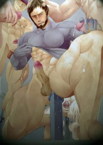 A Bara Uke is surrounded by hard cum shooting cocks as he sits on a giant dildo