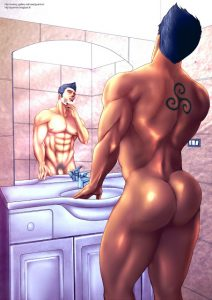 A drop dead gorgeous Bara hunk is standing in front of a mirror showing his perfect butt Yaoi