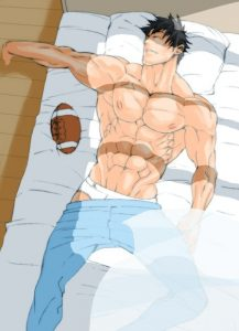 Hot Bara guy lays his muscled body on the bed relaxing Yaoi