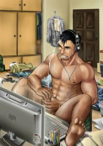 A Bara guy makes a cum mess on his own face as he has a laptop wank session in this hot Yaoi pic