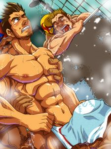 Orgy in the shower shows two Uke Bara guys being dicked down by their Seme