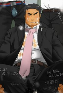 A Yaoi Bara business man in a suit is covered in cum