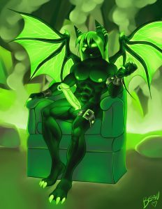 neon green furry bat sitting in the chair with a fully erect cock