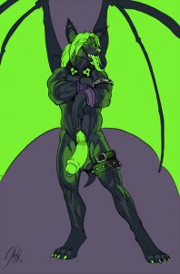 here is that radioactive neon green furry bat again striking a sexy pose