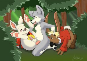 cub furry threesome sex in the woods