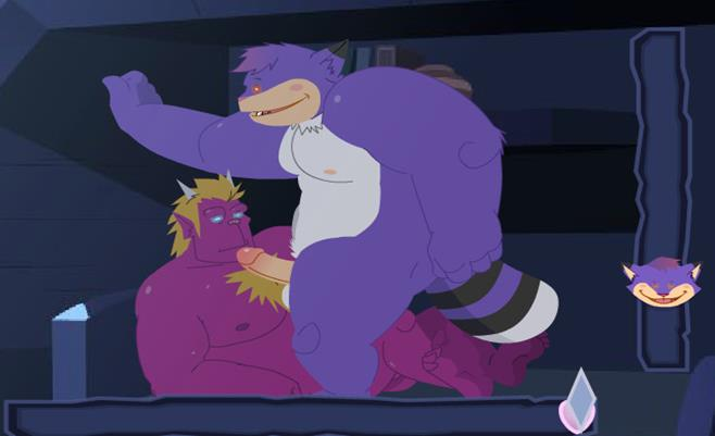 Gay furry monsters face fuck in bed